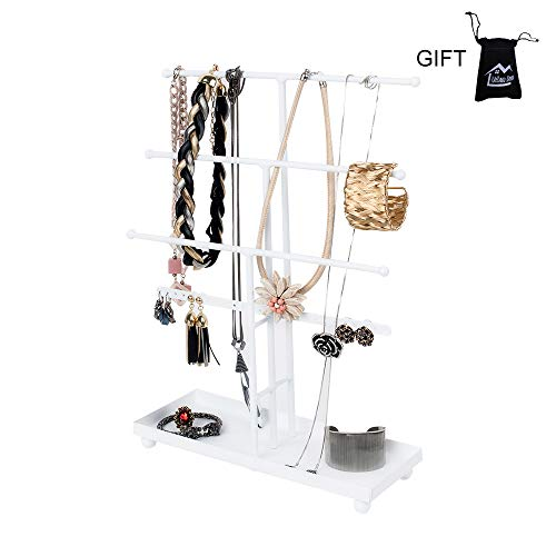 (Necklace Holder Jewelry Organizer Jewelry Stand 3 Plus 1 Tier Tabletop with Ring Tray to Organize Necklaces, Bracelets, Earrings, Rings and Watches, White)