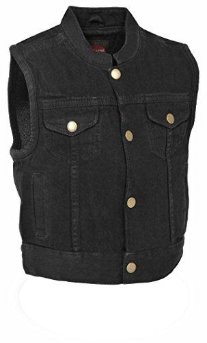 Denim Black Leather Vest - Kids Denim Club Style Vest (Black, XL)