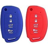 2Pcs XUHANG Sillicone key fob Skin key Cover Remote Case Protector Shell for for Hyundai Sonata Santa Fe Tucson Elantra ix35 ix45 remote red blue
