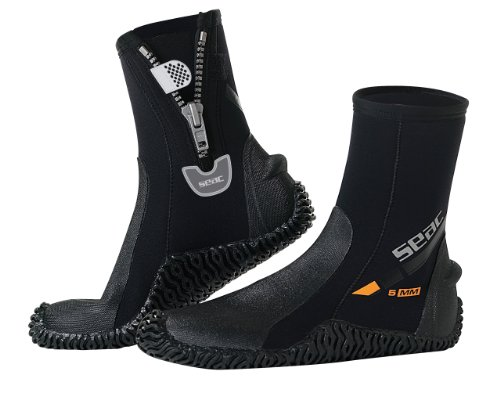 SEAC Basic HD 5mm Neoprene Scuba Boots with Side Zipper, Large for $<!--$39.72-->