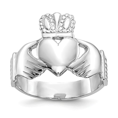 ICE CARATS 14kt White Gold Mens Irish Claddagh Celtic Knot Band Ring Size 9.00 Man Fine Jewelry Dad Mens Gift Set (Gents Claddagh 14kt Ring)