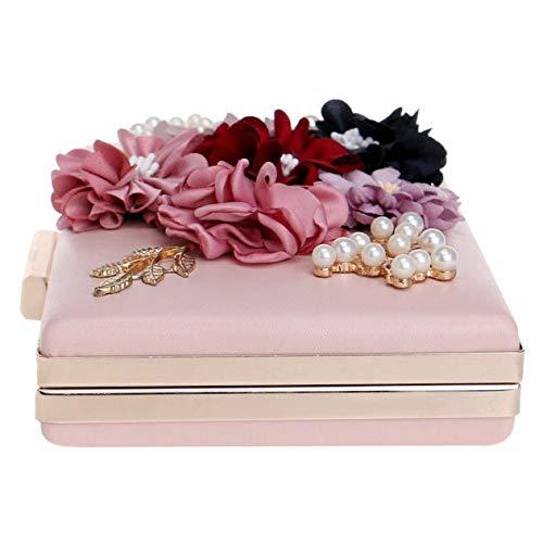 4 12cm Pour 20 Sacs Perle Embrayages Fête Cuir En Taille couleur Pochette De À Portefeuille White La Soirée Pu Fleur Gold Sac Mariage Main Femmes Bqw4Opgf