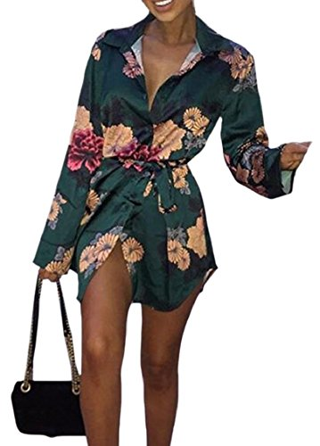 Green Down Women's Shirt Sleeve Floral Dress Lapel Button Jaycargogo Long ATwUaq