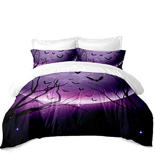 JARSON 3Piece Purple Moon Starry Bedding Twin Size,Halloween Bat Printed Duvet Cover Sets,Halloween Design Home -