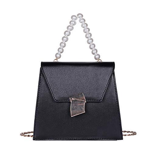 LUXISDE Women Pearl Mobile Wild Messenger Bag Fashion Single Shoulder Small Square Bag ()