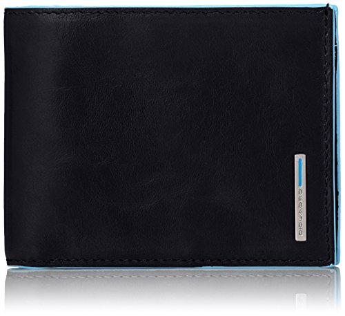 Piquadro Leather Man's Wallet with Coin Purse Case and Credit Cards Slots, Black, One Size by Piquadro