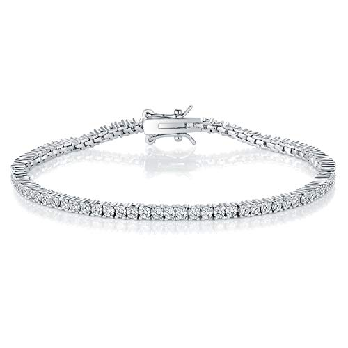 GMESME 18K White Gold Plated 2.0 Round Cubic Zirconia Classic Tennis Bracelet 7.5 - Setting Prong 2 Bracelet Round
