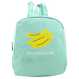 Paymenow Women Fashion Canvas Fruit Watermelon Hiking Daypack Travel Satchel School Bag Backpack Bag Gift Bag (Black) (Green)