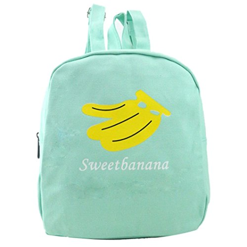 Paymenow Women Fashion Canvas Fruit Watermelon Hiking Daypack Travel Satchel School Bag Backpack Bag Gift Bag (Black) (Green)
