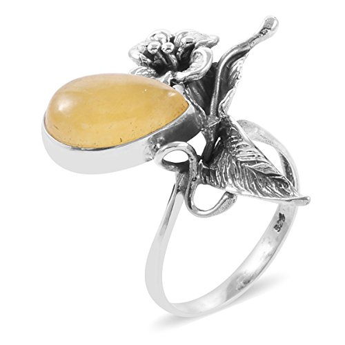 - 925 Sterling Silver Pear Honey Jade Floral Gift Ring for Women Size 11