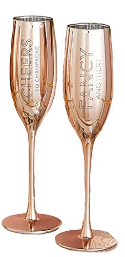amazon com two s company rose gold champagne glasses cheers