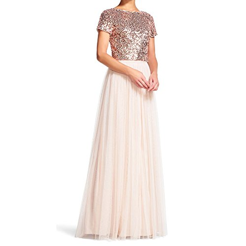 Honey Qiao Rose Gold Bridesmaid Dresses Short Sleeves Two Pieces Sequins Tank Tulle (2 Piece Best Maid Dress)