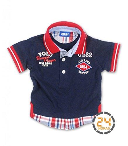 Polo niño UBS2 negro con detalles en rojo: Amazon.es: Bebé