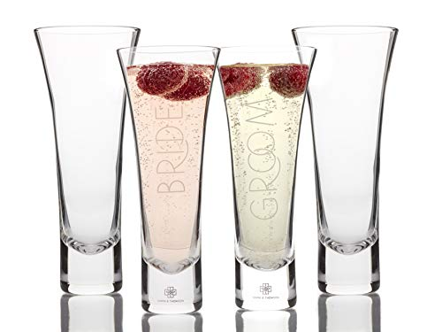 Set of 4 Stemless Wedding Toasting Glasses - Bride and Groom Champagne Flutes Plus 2 Extra Glasses For Everyday Use - Sparkling Lead-free Crystal