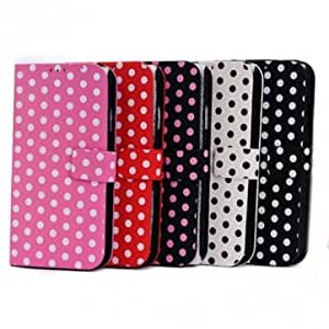 Fashion Wave Point Design Stand Function Flip Case For iPhone 5C --- Color:Rose Red+Black