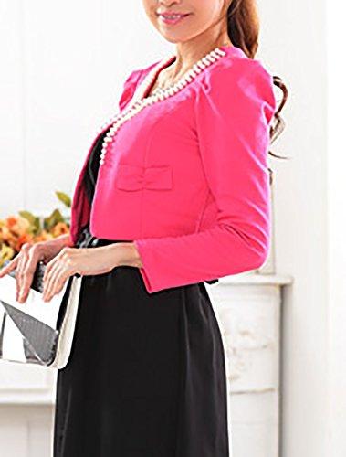 Manteau Manches Cardigan Tailles Élégant Longues Petite Top Robe Uni Mode De La Crop Rose À Unique Femmes Bolero Slim Plus zgwPPU