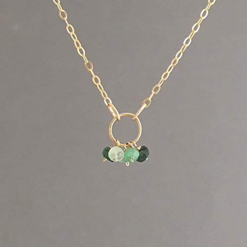 Emerald Circle Pendant - Five TINY Emerald and Gold Circle Necklace also in Sterling Silver