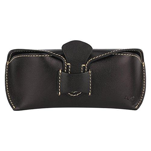 ZLYC Unisex Handmade Vegetable Tanned Leather Hard Eyeglass Case Sunglasses Holder (Black, Slip-in slip-out closure) by ZLYC