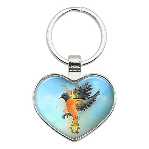 (Baltimore Oriole Watercolor Northeastern Bird Heart Love Metal Keychain Key Chain Ring)