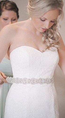 ShiDianYi Rhinestone Applique Bridal,Bridal Sash Ivory, Wedding Sash Ivory, Ivory Wedding Sash, Rhinestone Wedding Belt, Wedding Dress Sash (Wedding Gown Belt)