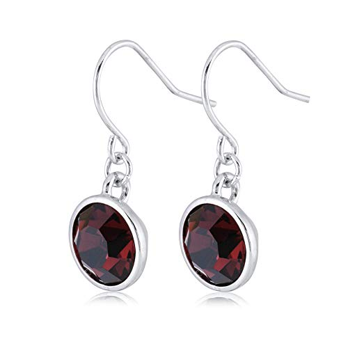 UPSERA Dark Red Drop Dangle Earrings for Women Girls Crystals from Swarovski Silver Tone Plated Earrings Jewelry ()