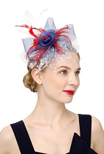 Czioe Flower Cocktail Tea Party Headwear Feather Fascinators Top Hat for Girls and Women (1-flag color)