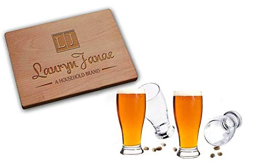 Lauryn Janae Premium Glassware 19oz on Tap Beer Lover Pilsner Barware, Drinkware Glasses (Set of 2)
