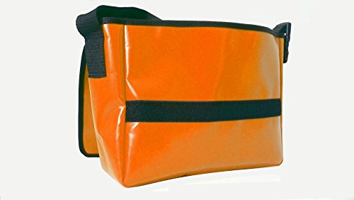 Schultertasche Hunde-Motiv Orange/Schwarz Bulldogge H 23, B 30, T 10