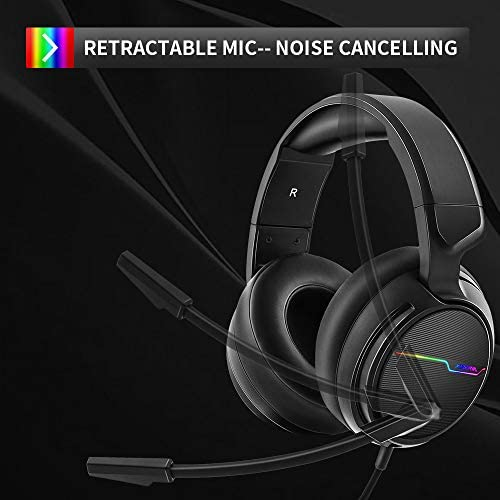 Jeecoo Xiberia USB Pro Gaming Headset for PC- 7.1 Surround Sound Headphones with Noise Cancelling Microphone- Memory Foam Ear Pads RGB Lights for Laptops
