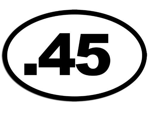 American Vinyl WHITE Oval .45 Sticker (gun caliber shoot handgun - Caliber Handgun