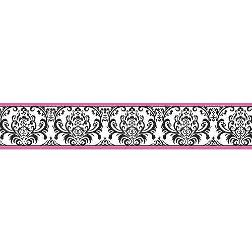 Sweet Jojo Designs Hot Pink Black And White Isabella Baby Kids Wall Border