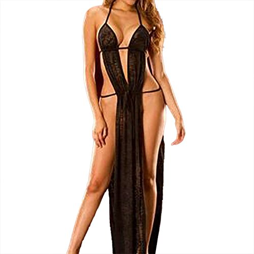 Price comparison product image Ghazzi Sexy Lingerie for Women for Sex Women's Lace Lingerie Deep V Babydoll Backless Sleepwear Dress Chemise Bodysuit (L, Black)