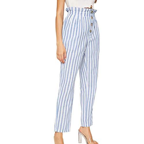 CCatyam Plus Size Pants for Women, Trousers Striped Print Button Sexy Casual Fashion Blue
