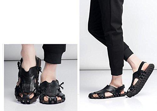 2017 Hombres Verano Nueva Primera Capa De Zapatos De Cuero De Playa Zapatos De Cuero Casual De Moda De Alta Calidad Baotou Yards Grandes Black