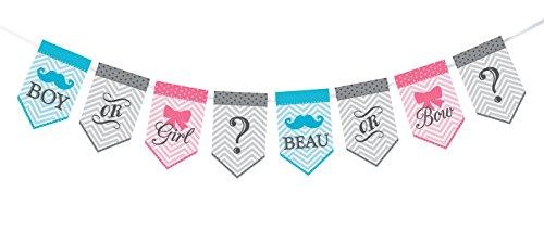 "Lillian Rose Baby Gender Reveal Bunting Banner, Pink/Blue/Grey, 45"""