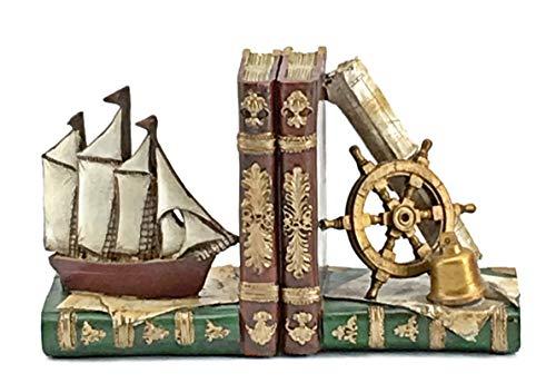 (Bellaa 24247 Ship Bookends Nautical Pirate Sailboat Decor 6