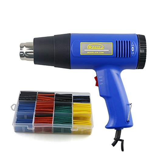 URBEST Dual Temperature Electronic Heat Gun Kit, 1500 Watt + 530Pcs 2:1 Heat Shrink Tubing - Electronic Temperature