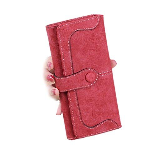 GGTFA Frauen Umschlag Nähen Geldbeutel Peeling Chiffons Bifold Wallet Card Inhaber Organizer Rot