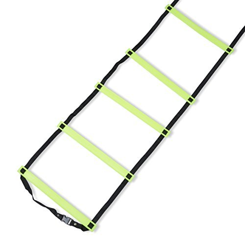 Soccer Ladders Speed Ladder Exercise Ladder Training Agility Equipment and Anchors FREE carrying bag Agility Equipment (Yellow, 15 feet) …