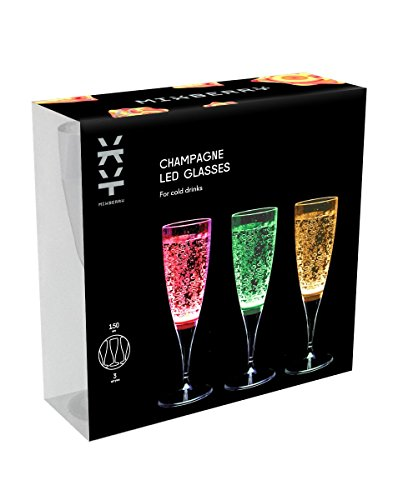MIXBERRY Set of 3 Celebration LED Light Up Liquid Activated Multi-color Champagne Glasses, 150 ml (5oz)