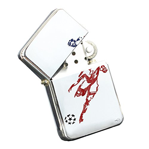 American Mens Boys Soccer - Silver Chrome Pocket Lighter by Elements of Space by Elements of Space