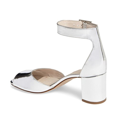 Buckled Toe Prom Block Silver 6 Summer Pieces Two Heels US Size Low Peep Pretty Women 13 Sandals FSJ Shoes pqBCPwc