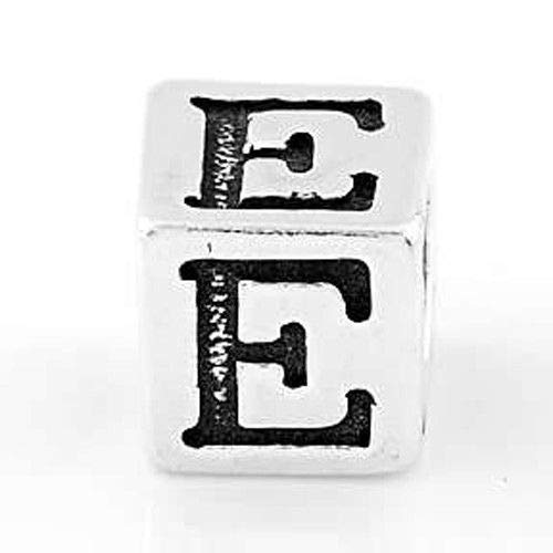 (Sterling Silver Block Letter Initial E Cube Charm Jewelry Making Supply Pendant Bracelet DIY Crafting by Wholesale Charms)