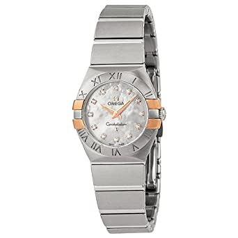 68dd2d1eebc Image Unavailable. Image not available for. Color  Omega Constellation  Mother of Pearl Dial Stainless Steel Ladies Watch 12320246055005