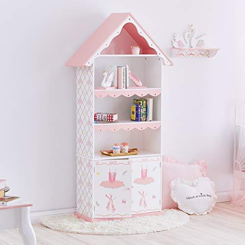 Fantasy Fields - Swan Lake Ballerina Kids Wooden Bookshelf, Hand-Crafted & Hand-Painted Furniture, White/Pink