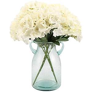 Artificial Silk Hydrangea Bouquet Fake Flowers Arrangement Home Wedding Decor,1 Bunch of 6 Flowers Fake Floral Centerpieces Arrangements DIY White