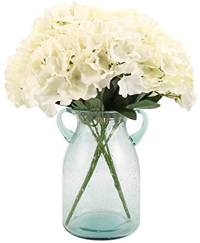 Blooming Paradise Artificial Silk Hydrangea Bouquet Fake Flowers Arrangement Home Wedding Decor,1 Bunch of 6 Flowers Fake Floral Centerpieces Arrangements DIY White