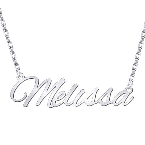 Hybedora Custom Name Necklace, Handmade Personalized Name Necklace Pendant Jewelry Gift for Women (Silver-7)