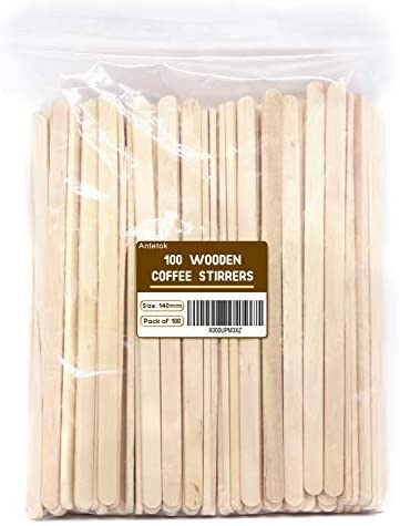 Disposable Birchwood Tea Wood Coffee Stir Sticks Wooden Stirrers 5.5 Inch 100 Pcs