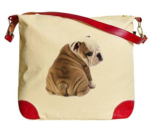 English Bulldog Puppy Beige Printed Canvas Tote Bag Shoulder Bag ()
